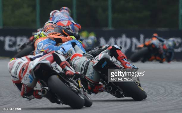 Moto2 riders compete during the Moto2 event of the Czech MotoGP at Masaryk Circuit on August 05 2018 in Brno Czech Republic