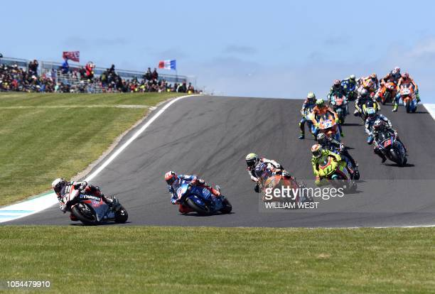 Moto2 riders take the circuit during the Australian Grand Prix Moto2 race at Phillip Island on October 28 ahead of the MotoGP Australian Grand Prix /...