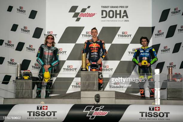 Moto3 podium with Moto3 rider Pedro Acosta of Spain and Red Bull KTM Ajo , Moto3 rider Darryn Binder of South Africa and Petronas Sprinta Racing and...