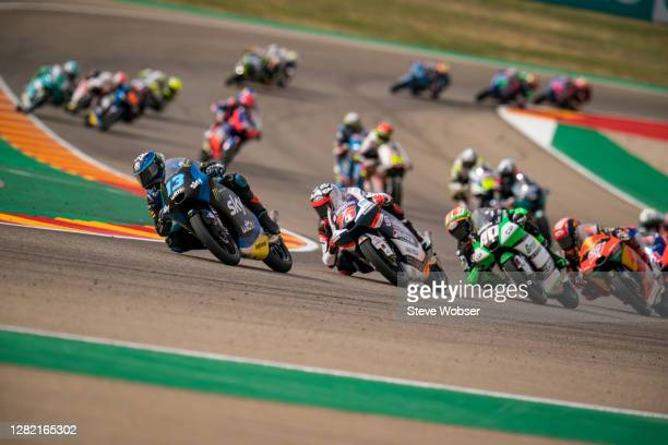 Moto3 rider Celestino Vietti of Italy and SKY Racing Team VR46 leads the Moto3 field in the beginning during the MotoGP of Teruel at Motorland Aragon...