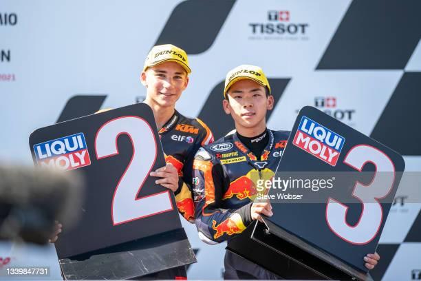 Moto3 rider Deniz Öncü of Turkey and Red Bull KTM Tech 3 and Moto3 rider Ayumu Sasaki of Japan and Red Bull KTM Tech 3 celebrate the double podium...