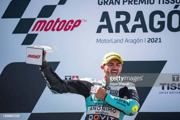 Moto3 rider Dennis Foggia of Italy and Leopard Racing celebrates with his trophy on the podium his race win during the race of the MotoGP Gran Premio...