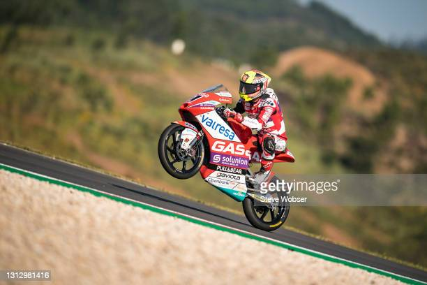 Moto3 rider Sergio Garcia of Spain and GasGas Gaviota Aspar rides at Autodromo Internacional Do Algarve on April 17, 2021 in Portimao, Portugal.