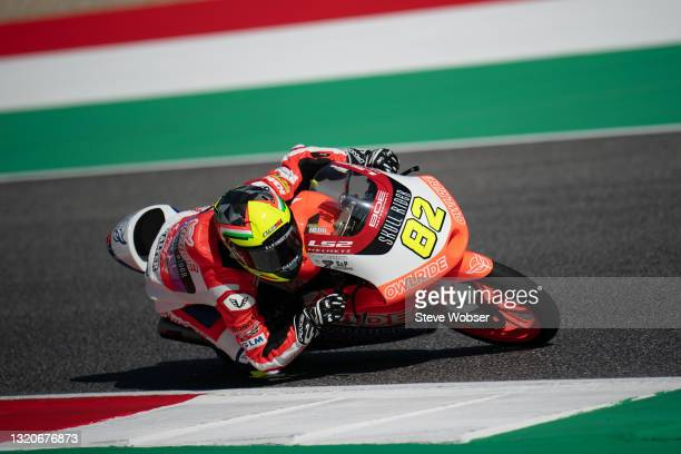 Moto3 rider Stefano Nepa of Italy and BOE Owlride rides at Mugello Circuit on May 29, 2021 in Scarperia, Italy.
