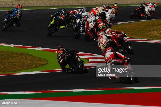 Moto3 riders in action during the Moto3 warm-up ahead of the Moto3 race at Circuit de Catalunya on June 11, 2017 in Montmelo, Spain.