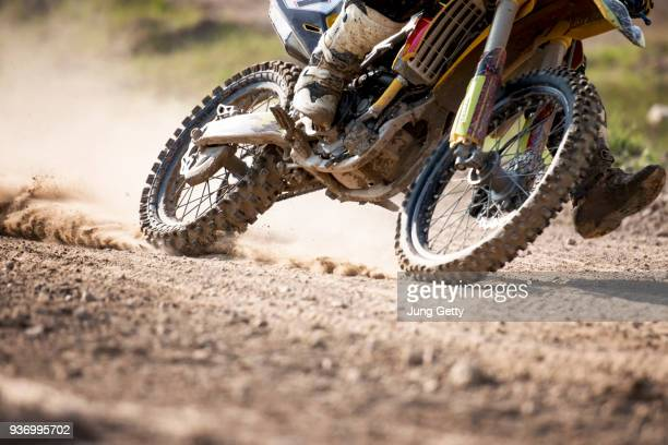 motocross bike race speed and power in extreme man sport ,sport action concept - オートバイ競技 ストックフォトと画像