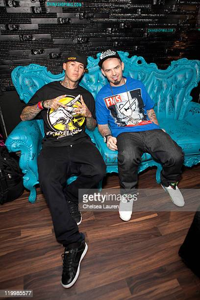 Motocross rider Jeremy Twitch Stenberg and rapper Paul Wall attend Jeremy 'Twitch' Stenberg's Famous Stars And Straps XGames launch event at The Roxy...