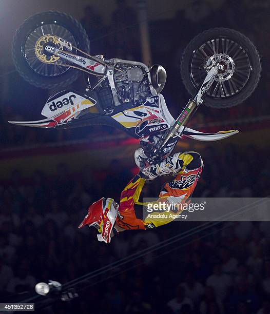A motocross rider performs during the Red Bull XFighters World Tour Madrid stage was held at Las Ventas which is regarded as the home of bullfighting...