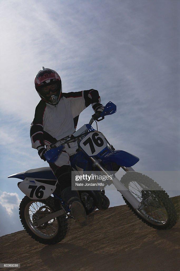 Motocross Rider Turning : Stock Photo
