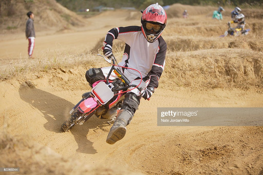Motocross Rider Turning : Stock Photo