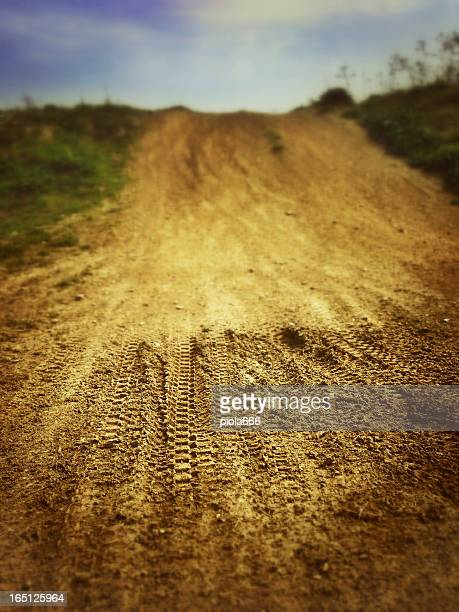 Motocross Tire Track on Muddy Ground