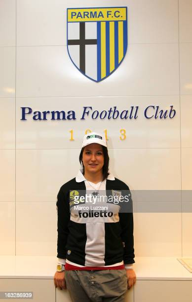 Motocross World Champion Kiara Fontanesi Meets Parma FC at the club's training ground on March 6 2013 in Collecchio Italy