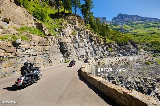 Motocycle Tourists Visiting Glacier National Park, Montana USA