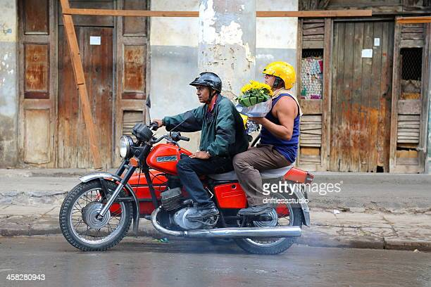 motocyclists at fresh flower market in havana - irony stock pictures, royalty-free photos & images