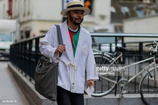 Motofumi Kogi 'Poggy' outside Maison Margiela during the Paris Fashion Week Menswear Spring/Summer 2017 on June 24 2016 in Paris France