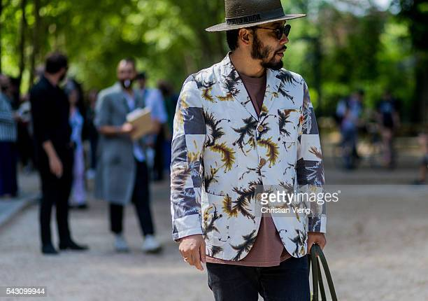 Motofumi Kogi 'Poggy' outside Sacai during the Paris Fashion Week Menswear Spring/Summer 2017 on June 25 2016 in Paris France