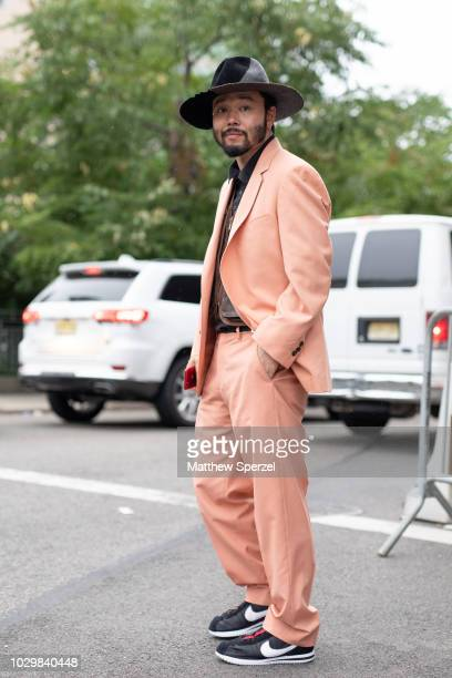 Motofumi ÒPOGGYÓ Kogi is seen on the street during New York Fashion Week SS19 wearing Supreme suit Nike on September 8 2018 in New York City