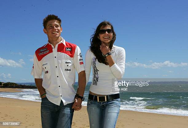 MotoGP at Phillip Island Aussie rider Casey Stoner who rides a 250cc Aprilia for the Carrera Sunglasses LCR team pictured with his girlfriend Adriana...