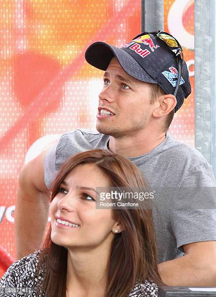 MotoGP Champion Casey Stoner and his wife Adriana Stoner watch the Top Ten Shoot Out for the Sydney 500 which is round 14 of the V8 Supercars...