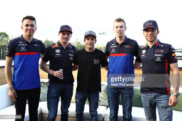 MotoGP champion Marc Marquez meets Alexander Albon of Thailand and Scuderia Toro Rosso Max Verstappen of Netherlands and Red Bull Racing Daniil Kvyat...