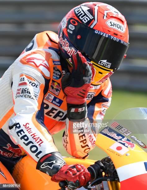 MotoGP Fahrer Marc Marquez, Spanien, Honda waehrend der Qualifikation beim MotoGP auf dem Sachsenring in Hohenstein-Ernstthal, Deutschland. Search:...