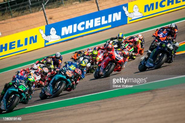 MotoGP field after race start during the MotoGP of Aragon at Motorland Aragon Circuit on October 18, 2020 in Alcaniz, Spain.
