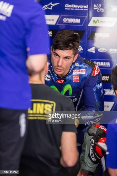 MotoGP Maverick Vinales Movistar Yamaha Motogp Team during the MotoGp training in racetrack of Catalunya in BarcelonaCatalunya Circuit Barcelona on...
