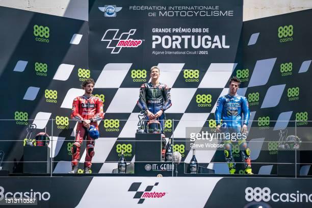 MotoGP podium with Fabio Quartararo of France and Monster Energy Yamaha MotoGP , Francesco Bagnaia of Italy and Ducati Lenovo Team and Joan Mir of...
