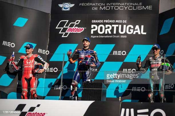 MotoGP podium with Miguel Oliveira of Portugal and Red Bull KTM Tech 3 , Jack Miller of Australia and Pramac Racing and Franco Morbidelli of Italy...