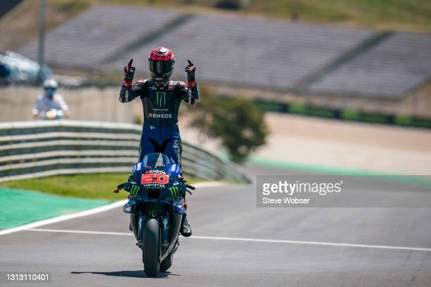 MotoGP race winner rolls into the parc ferme at Autodromo Internacional Do Algarve on April 18, 2021 in Portimao, Portugal.