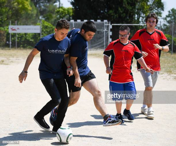 MotoGP rider and new Laureus Ambassador Jorge Lorenzo of Spain plays a football match at the Jeroni de Moragas Foundation on June 21 2017 in...