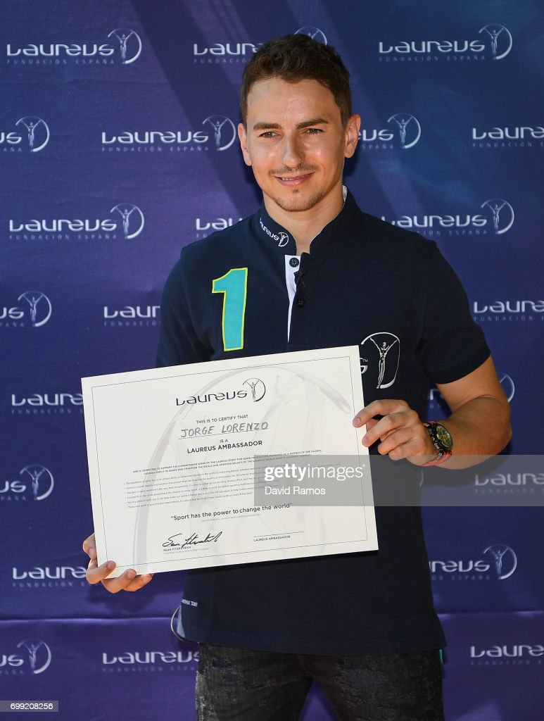 MotoGP rider and new Laureus Ambassador Jorge Lorenzo of Spain poses for the media at the Jeroni de Moragas Foundation on June 21, 2017 in Barcelona, Spain.