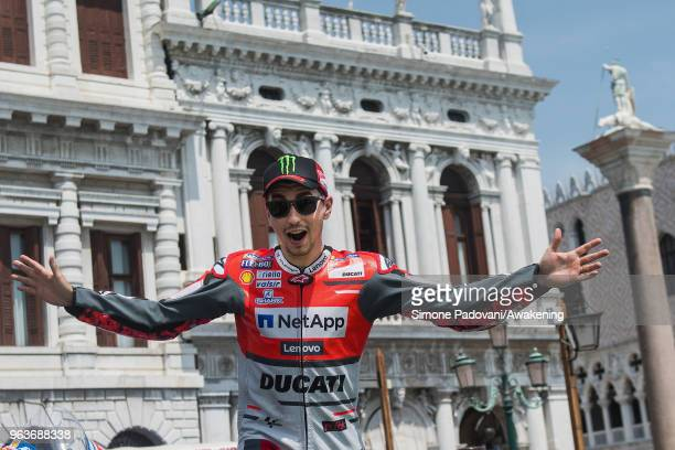 MotoGP rider Jorge Lorenzo arrives to film in St. Mark's Square to promote the Italian Grand Prix at Mugello this weekend on May 30, 2018 in Venice,...