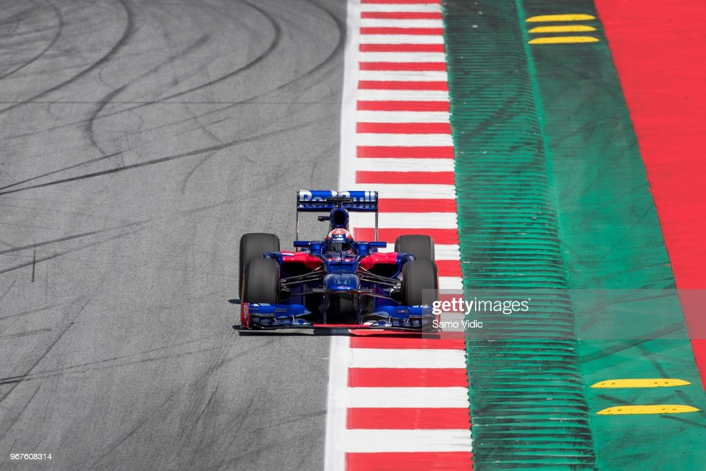MotoGP rider Marc Marquez of Spain and Repsol Honda Team on track in a Toro Rosso car during F1 testing on June 5, 2018 in Spielberg, Austria.