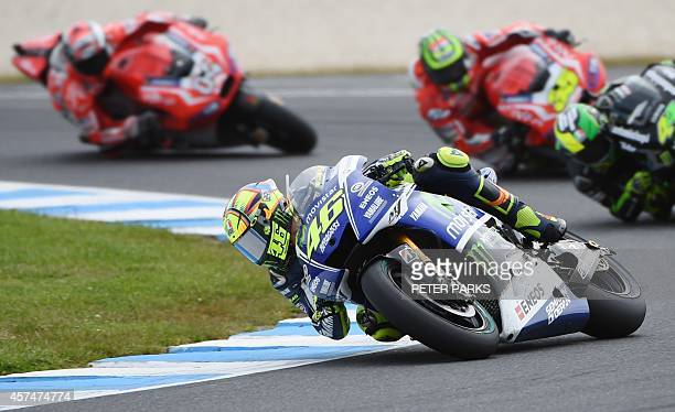 MotoGP rider Valentino Rossi of Italy leads the pack during the Australian MotoGP Grand Prix at Phillip Island on October 19 2014 AFP PHOTO/Peter...