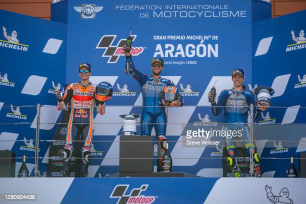 MotoGP riders Alex Rins of Spain and Team SUZUKI ECSTAR , Alex Marquez of Spain and Repsol Honda Team and Joan Mir of Spain and Team SUZUKI ECSTAR...