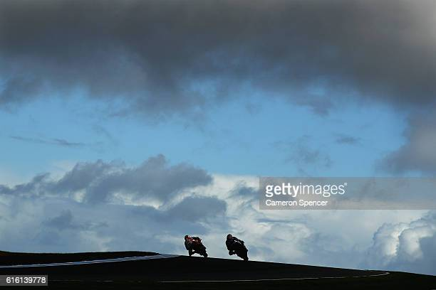 MotoGP riders head over Lukey Heights during free practice for the 2016 MotoGP of Australia at Phillip Island Grand Prix Circuit on October 22 2016...