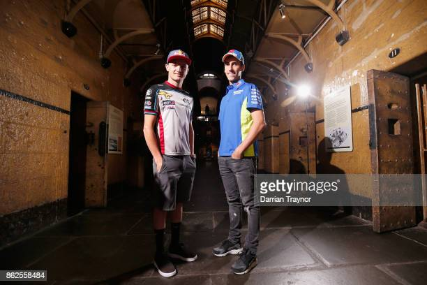 MotoGP riders Jack Miller and Alex Rins visit the Old Melbourne Gaol during a media op ahead of the 2017 MotoGP of Australia at on October 18 2017 in...