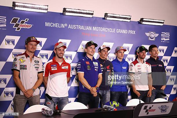 MotoGP riders pose during a press conference ahead of the 2016 MotoGP of Australia at Phillip Island Grand Prix Circuit on October 20 2016 in Phillip...