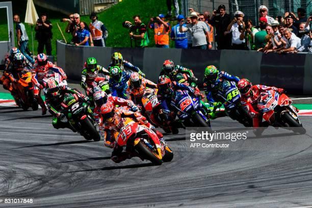 MotoGP riders start the MotoGP Austrian Grand Prix race at Red Bull Ring in Spielberg Austria on August 13 2017 / AFP PHOTO / Jure Makovec