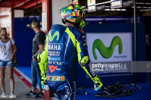 MotoGP Valentino Rossi Movistar Yamaha Motogp Team during the MotoGp training in racetrack of Catalunya in BarcelonaCatalunya Circuit Barcelona on...