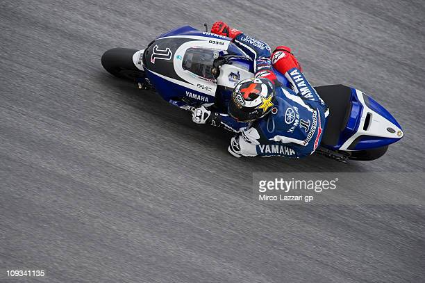MotoGP World Champion Jorge Lorenzo of Spain and Yamaha Factory rounds a bend during the first day of testing at Sepang Circuit on February 22 2011...