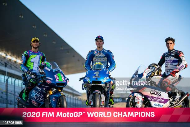 MotoGP world champions Joan Mir of Spain and Team SUZUKI ECSTAR , Moto2 rider Enea Bastianini of Italy and Italtrans Racing Team , and Moto3 rider...