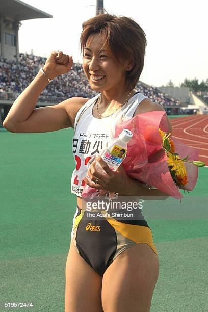 Motoka Arai celebrates winning the Women's 100m during day two of the JAAF Japan National Championships at the Ishikawa Kanazawa Stadium on June 8...