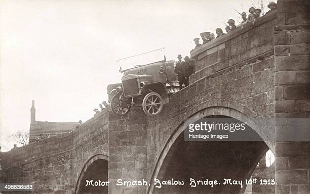 Motor accident Baslow Bridge Derbyshire 1915 A motor bus accident on Baslow Bridge showing the bus balanced precariously over the parapet Note that...