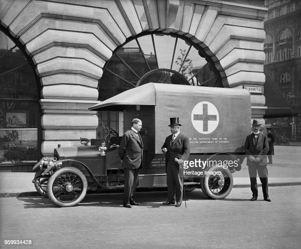 Motor ambulance London 1915 View of an ambulance funded by the State of Victoria parked outside Australia House and the Government of Victoria...