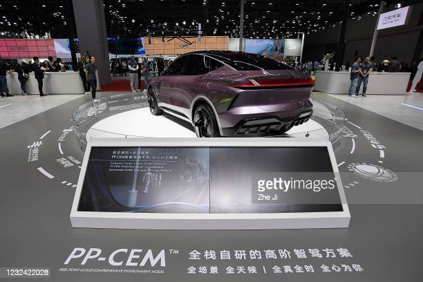 Motor autonomous driving car is on displayed during the 19th Shanghai International Automobile Industry Exhibition, also known as Auto Shanghai 2021,...