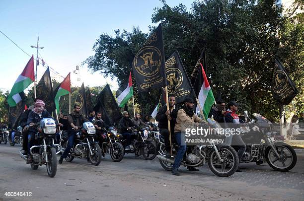 Motor bikers with Palestinian and Islamic Jihad flags gather in Gaza city on December 162014 to hold a demonstration in solidarity with Palestinian...