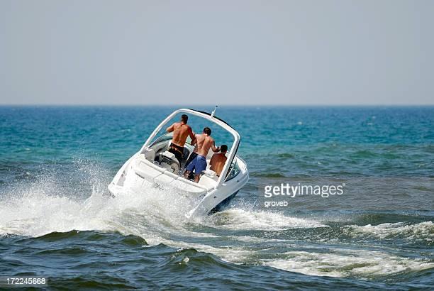 Motor boat on Lake Michigan