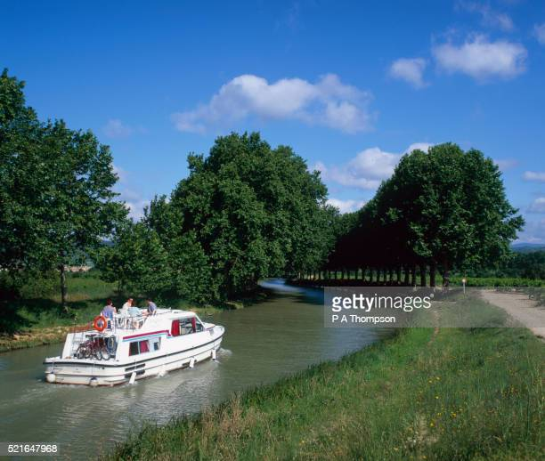 Motor Boat on Midi Canal in Southern France